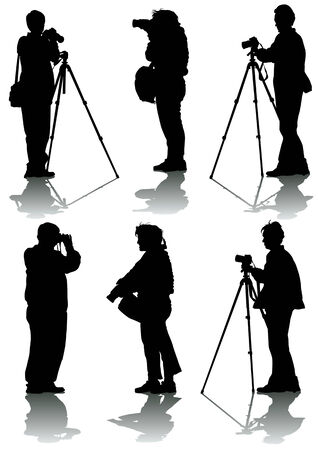 Vector image of young photographers with equipment at work Vector