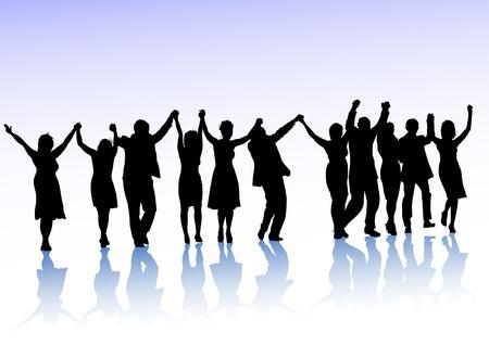 foules: Dessin vectoriel foules de spectateurs, se tenir la main