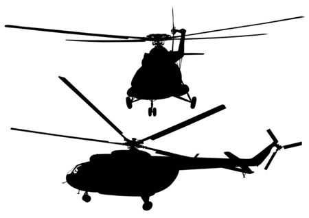 Vector drawing of big helicopters. Silhouettes on white background Vector