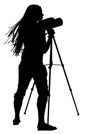 astronomer: Young girl looks at the big telescope. silhouette on white background