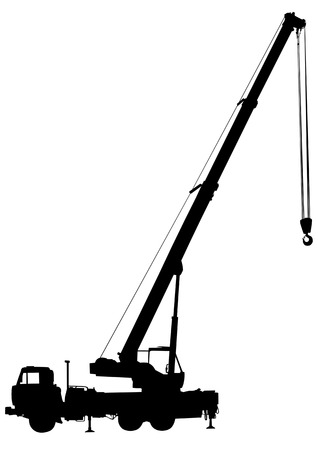 cranes: Vector drawing elevating the crane car. Silhouette on white background Illustration