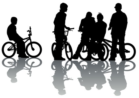 Vector drawing cyclists group teen. Silhouette on white background Vector