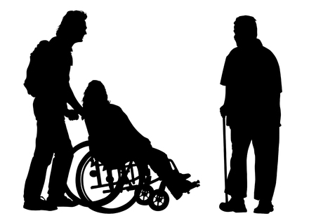 impairment: Vector graphic disabled in a wheel chair. Silhouettes on a white background Illustration