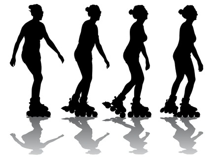 Vector drawing a girl on roller-skates. Silhouettes on a white background  Vector