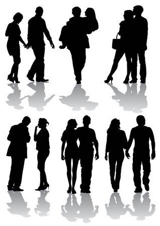 heterosexual: Parejas de dibujo vectorial en la caminata. Siluetas sobre fondo blanco