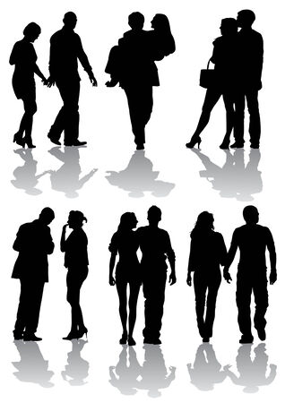 Vector drawing couples on the walk. Silhouettes on white background Vector