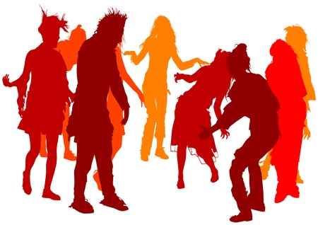 Vector drawing of dancing people. Silhouette of the crowd on a white background Stock Vector - 5461134