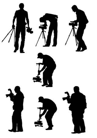 Vector image of young photographers with equipment at work Vetores