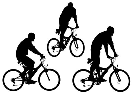 Vector image of sports bike. Silhouettes on a white background Vector