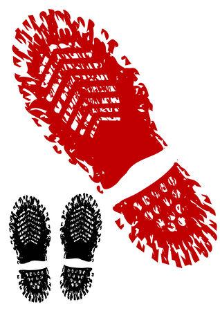 dirty feet: Dessin vectoriel trace de la chaussure. Silhouette sur fond blanc Illustration