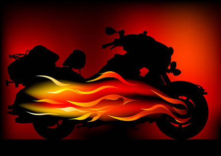 Vector graphic motorcycle on fire. Silhouetted against the flames Vector