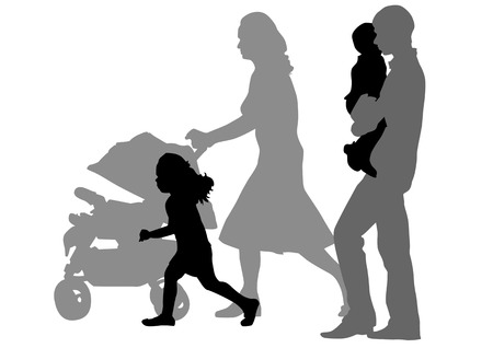 Vector drawing families with children. Silhouettes on a white background Vector