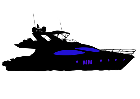 Vector drawing of a large sea boats. Silhouette on white background Vector