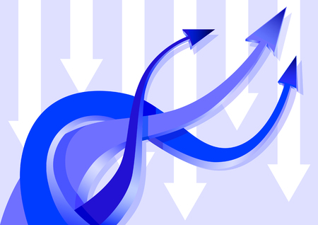 turning point: Vector drawing blue arrows, woven together