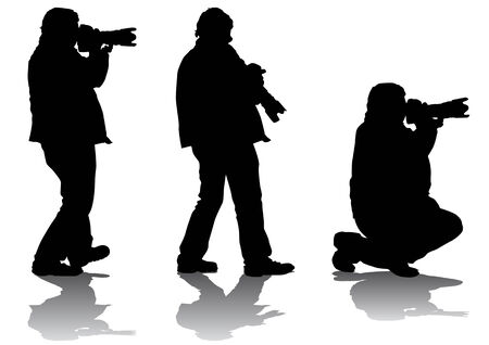 professional equipment: Vector image of professional photographers with equipment at work Illustration