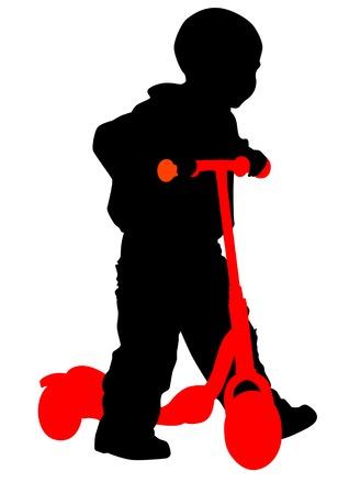 ni�o empujando: De dibujo vectorial al ni�o en el scooter. Silueta sobre fondo blanco Vectores