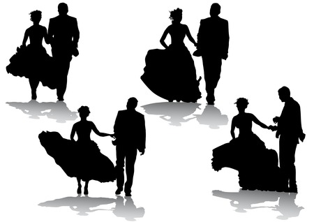 Vector drawing bride and groom. Silhouettes on white background Vector