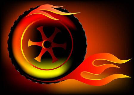 Vector drawing burning wheel. Fast driving and fire Vector