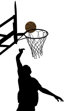 nets: Vector graphic basketball. Silhouette man with the ball