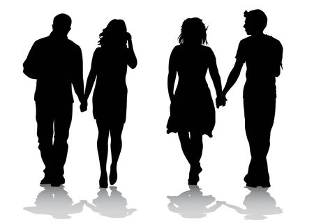 Vector drawing couples. Silhouettes on a color background Vector
