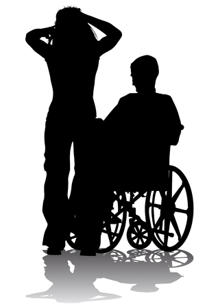 Vector graphic disabled in a wheel chair. Silhouettes on a white background Vector