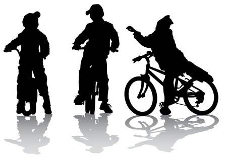 group of kids: Vector drawing cyclists group kids. Silhouette on white background Illustration