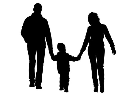 Vector drawing families with a child for a walk. Silhouettes on a white background Vector