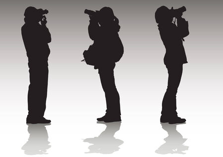 image of professional photographers with equipment at work Vector