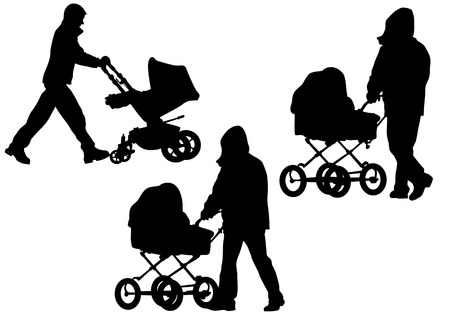 drawing his father with a baby carriage. Silhouettes on white background Vector
