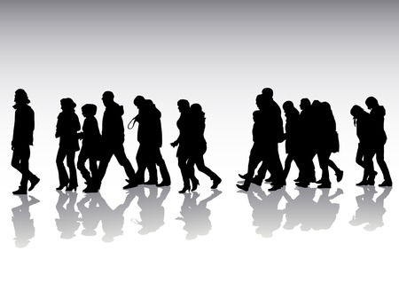 crowded street: drawing of pedestrians on the street. Silhouettes on white background