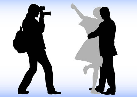 paparazzi: Drawing of photographers at a wedding. Silhouettes on a white background