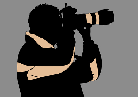 reporters: Vector image of the photographer with camera in hand. Silhouette on white background