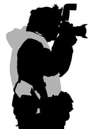 Vector image of the photographer with camera in hand. Silhouette on white background Vector