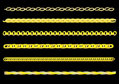 Vector drawing links of gold chain. You can create a chain of any chain Vector