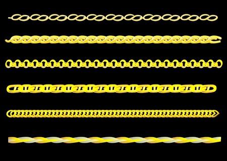 Vector dibujo eslabones de la cadena de oro. Puede crear una cadena de cualquier cadena