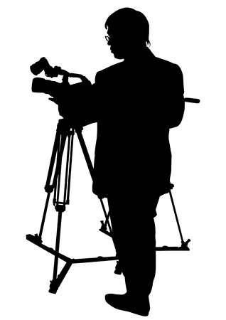 Vector drawing cameras and operator. Silhouette on white background Vector