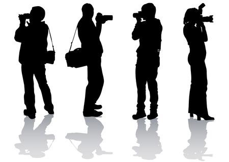 fotografi: Disegno di immagini dalla fotocamera vettoriale. Sagome su sfondo bianco  Vettoriali