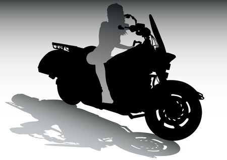 Vector drawing girls on motorcycle Vector