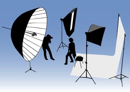 Vector de estudio dibujo y equipo fotográfico. Fotógrafo y modelo