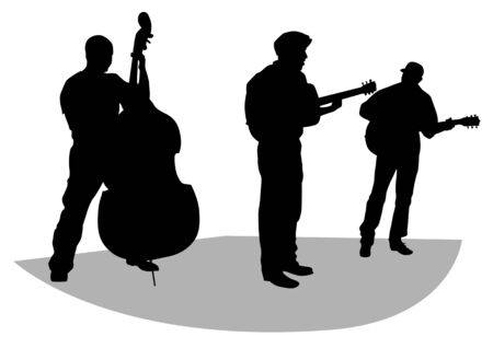 Vector drawing musical group on stage. Silhouettes on white background Vector
