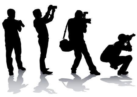 fotografi: Immagine vettoriale di fotografi professionisti con attrezzature di lavoro Vettoriali