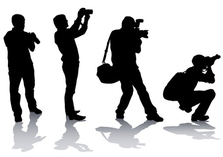 Vector image of professional photographers with equipment at work Stock Vector - 5806724
