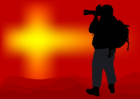 Vector image of professional photographers with equipment at work Vector