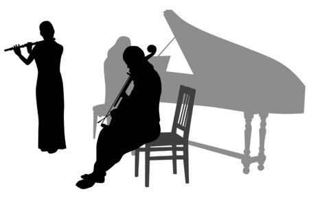 Early Music Orchestra during the concert. Silhouettes on white background Stock Vector - 5824955