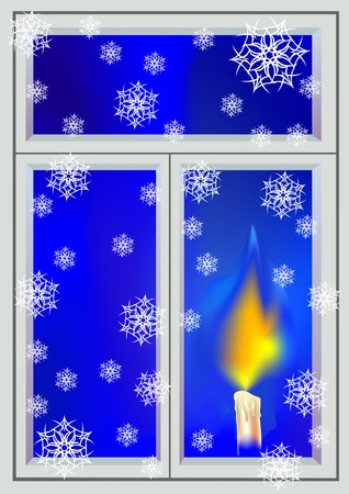 sacramental: drawing on the theme of Christmas. Burning candle in the window