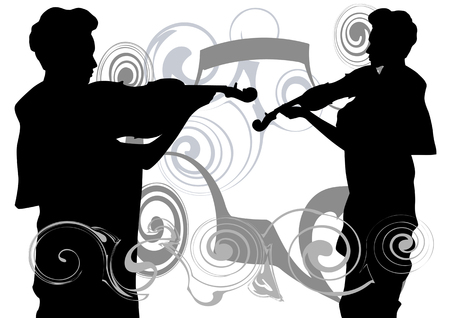 drawing of a young girl with a violin in the background of an abstract pattern Vector