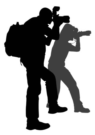 image of young photographers with equipment at work Vector