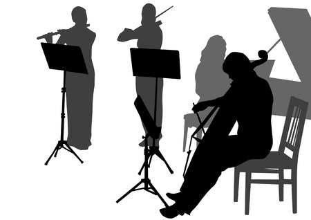Early Music Orchestra during the concert. Silhouettes on white background Vector