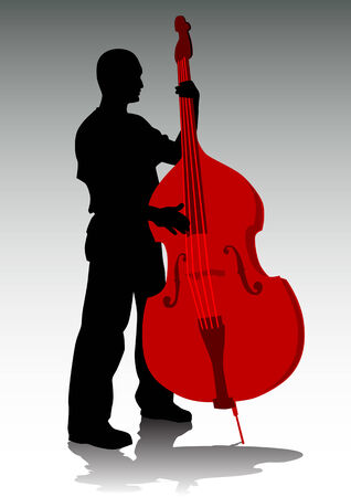 Vector drawing tool bass. A live performance on stage Vector