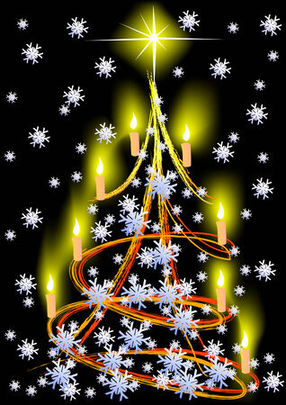 Vector drawing of a Christmas tree. Snow and candles Stock Vector - 5855532